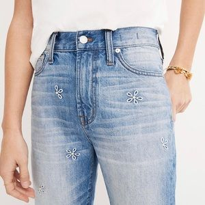 New Madewell Perfect Summer Jean Daisy Embroidered